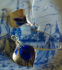 Naušnice srebro,silwer blue safir