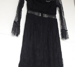 Crna uska čipkana haljina