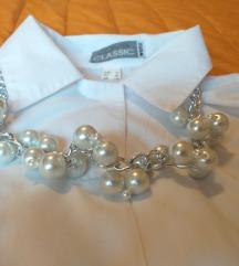 Ogrlica srebrno bijelo biserno klasika moderna