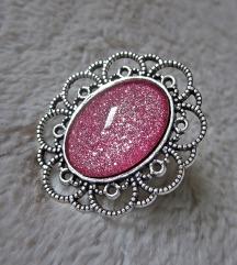 Prsten ''Pink holiday glitter'' (ručni rad)