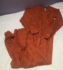 Asos narančasta duga čipkasta haljina xs