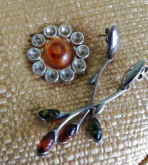 Dugačke srebrne naušnice s jantarom