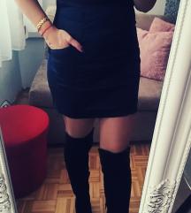 Tamno plava suknja visi struk