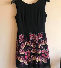 Crna cvjetna haljinica (S-M)