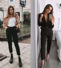 crne hlače visoki struk s remenom