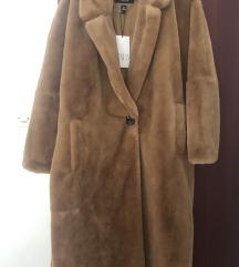 REZZ Zara smeđa duga bunda krznena L 40