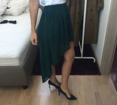 ZARA smaragdna asimetrična suknja