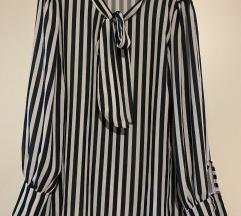 Prugasta bluza s mašnom crno bijela s 36