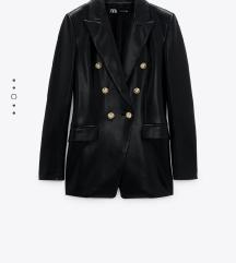 Novi Zara kožni crni sako