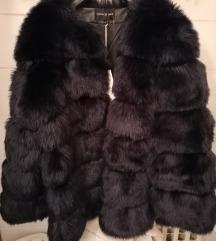 NOVO: Tamno plava bunda-umjetno krzno