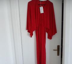 Zara crvena maxi haljina