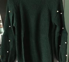 Tamnozeleni pulover s biserima