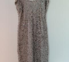 Zara trf šljokasta prljavo roza haljina