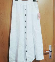 Bijela midi lanena suknja s etiketom