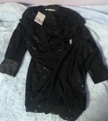 Zara crna šljokasta duga shirt haljina L