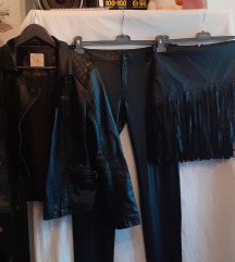 Crni kozni lot,jakna,hlace,suknja,vel l,xl