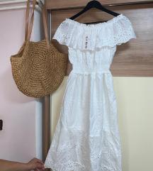Bijela romanticna haljina s volanom