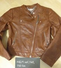 Kožna jakna H&M vel. 140 za djevojčice