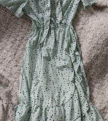 Midi zelena haljina na preklop
