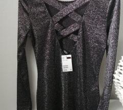 H&M mini haljina srebrne niti S/M
