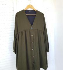 ZARA maslinasto zelena haljina dugih rukava