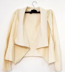 Ženska bež kožna asimetrična jakna (nenošeno)