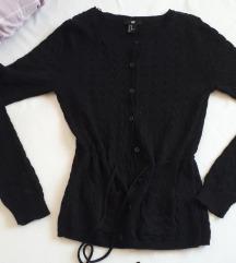 H&M crna pletena vesta S vel