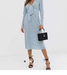 Asos haljina plava s točkicama