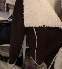 Sisley jakna od prave janjeće kože i krzna