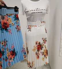 Plisirana duža suknja u tri boje
