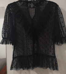 Zara bluza crna prozirna