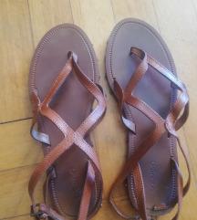 Smeđe kožne sandale s remenčićima mango 37