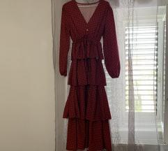 Midi crvena haljina na točkice