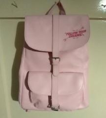 Veliki kožni ružičasti ruksak