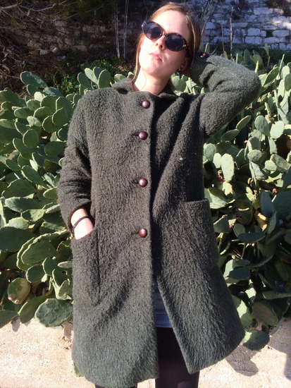 GREEN FAUXFUR COAT/ZELENI CUPAVI KAPUTIC
