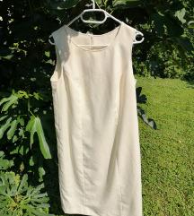 Pastelno žuta poslovna haljina