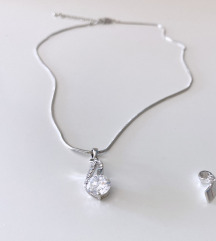 Srebrni lančić s dva kristalna privjeska