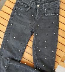 ZARA uske kožne traperice / visoki struk/ hlače