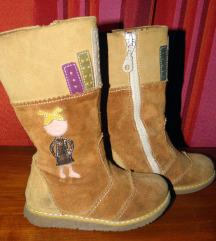 Čizme za curu nošene, prava koža, 15 cm gazište