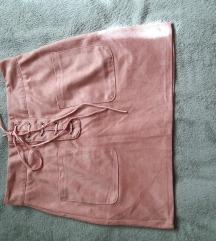 Pink suknja od brusene koze xs,s