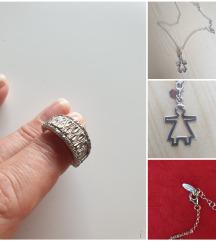 Srebro 925,lančic i prsten