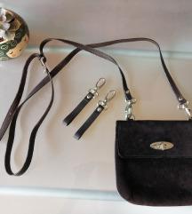 Tamnosmeđa kožna torbica