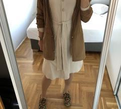 ZARA beige dress button suede