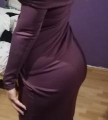 Bordo svecana midi haljina