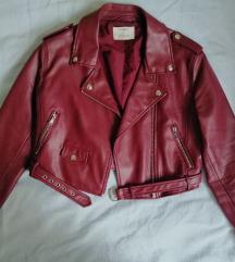 Bershka bordo kožna jakna