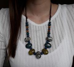 Podesiva plavo žuta ogrlica-ručni rad