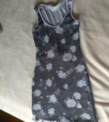 Siva cvjetna haljina