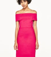 ZARA Ružičasta midi haljina
