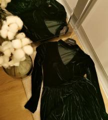 Baršun tamno zelena S haljina