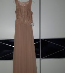 Svečana haljina puder boja NOVO